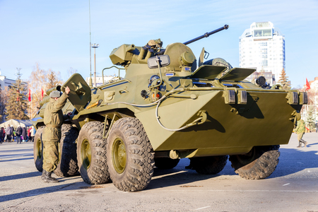 armoured: SAMARA, RUSSIA - NOVEMBER 7, 2015: Russian Army BTR-82 wheeled armoured vehicle personnel carrier Editorial