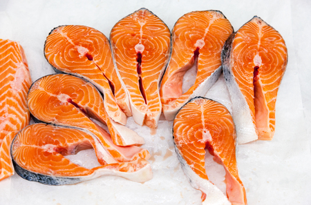 shelf ice: Raw red fish is sliced, ready for sale in a supermarket Stock Photo