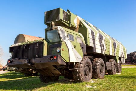 crawler: TOGLIATTI, RUSSIA - MAY 2, 2013: Heavy army wheeled tractor at the technical museum in Togliatti, Russia