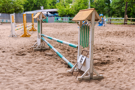 horse jumping: Riding competition. Obstacles for horse jumping event