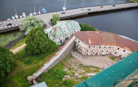 vyborg: VYBORG, RUSSIA - AUGUST 6, 2015: Top view on the Old City from the observation deck of the Vyborg Castle