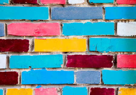 texture wall: Colorful urban brick wall as creative background