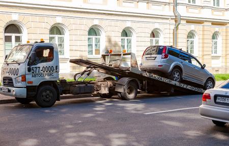 evacuation: ST.PETERSBURG, RUSSIA - AUGUST 4, 2015: Evacuation vehicle for traffic violations
