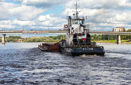 volkhov: NOVGOROD, RUSSIA - AUGUST 10, 2014: Navigation on the river Volkhov in summer day