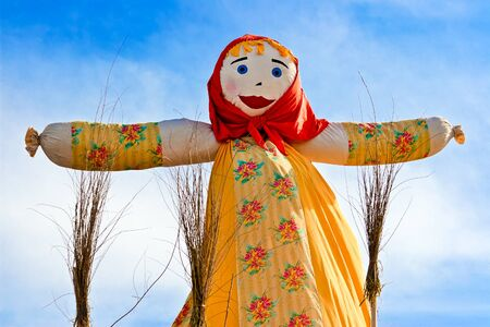 pancake week: SAMARA, RUSSIA  - March 2, 2014: End of the winter. Shrovetide in Russia. Big doll for the burning. Maslenitsa or Pancake Week is the Slavic Holiday. Editorial