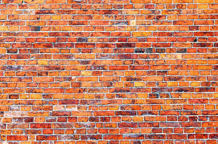 background pattern: Old weathered red brick wall as background
