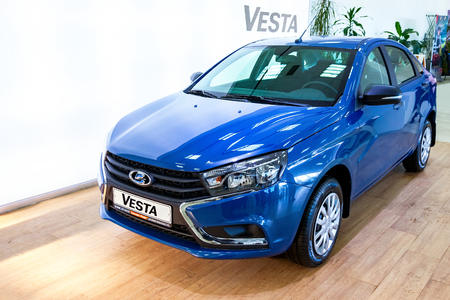 russian car: SAMARA, RUSSIA - JANUARY 14, 2016: New Russian Car Lada Vesta. Lada is a Russian automobile manufacturer