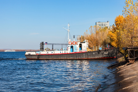motor launch: SAMARA, RUSSIA - OCTOBER 10, 2015: Vessel type Yaroslavets project RVN-376 on the river Volga in clear sunny day Editorial