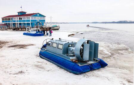 hovercraft: SAMARA, RUSSIA - MARCH 6, 2016: Hovercraft transporter at the Volga embankment in winter day Editorial