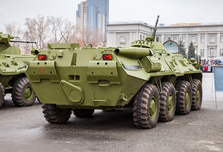 armoured: SAMARA, RUSSIA - NOVEMBER 7, 2015: Russian Army BTR-80 wheeled armoured vehicle personnel carrier at the central square