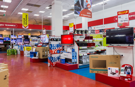 SAMARA, RUSSIA - MARCH 8, 2016: Interior of the electronics shop M-Video. Is the largest Russian consumer electronic retail chain