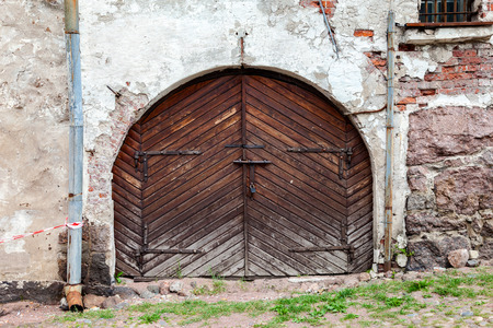 vyborg: Old wooden gate at the medieval castle in Vyborg, Russia