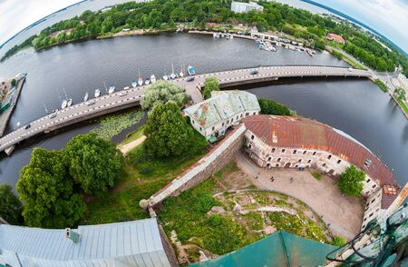 vyborg: Fisheye view on the Old City from the observation deck of the Vyborg Castle in Vyborg, Russia