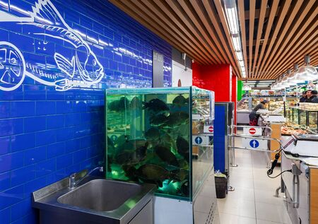 gastronome: SAMARA, RUSSIA - MARCH 29, 2016: Live fish ready for sale in the supermarket Perekrestok. One of largest food retailer in Russia