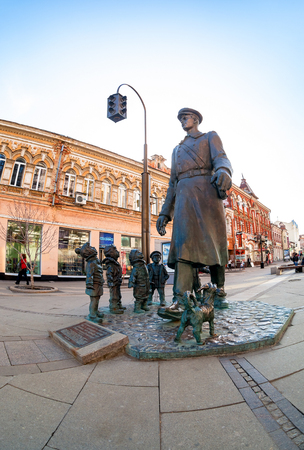 militiaman: SAMARA, RUSSIA - APRIL 9, 2016: Bronze monument Uncle Stepa-militiaman at the city street. Monument was unveiled on November 2015. Sculptor Z. Tsereteli