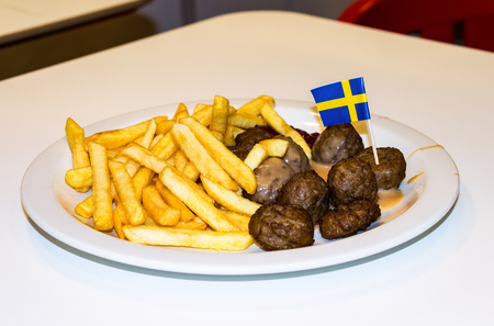 SAMARA, RUSSIA - APRIL 10, 2016: Lunch at the IKEA restaurant. French fries meatballs