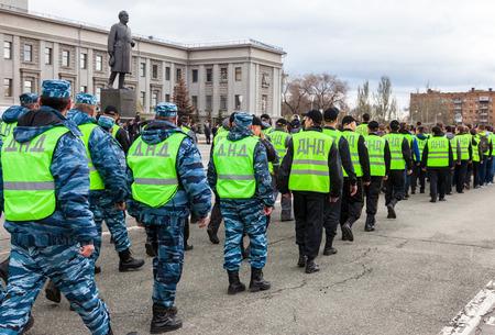 SAMARA, RUSSIA - APRIL 24, 2016: Platoon of russian helper police. Voluntary National Teams in uniform