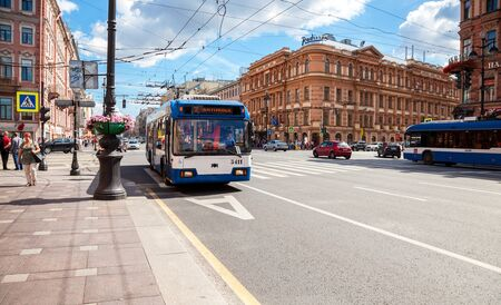 nevsky prospect: SAINT PETERSBURG, RUSSIA - AUGUST 5, 2015: Passenger bus run on dedicated bus lanes on the Nevsky Prospect in summer day Editorial