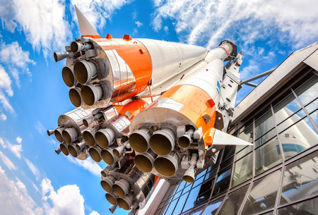 SAMARA, RUSSIA - APRIL 20, 2016: Russian space transport rocket with rocket engines against the blue sky Stock Photo - 56163514