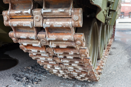 armored: Close up view of caterpillar of the Russian armored tank