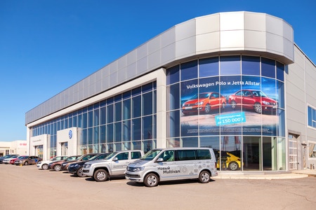 SAMARA, RUSSIA - MAY 14, 2016: New cars parked up near the office building of official dealer Volkswagen. Volkswagen Group is the biggest German automaker