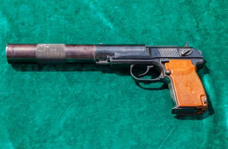 pb: SAMARA, RUSSIA - MAY 29, 2016: Russian firearms. The PB silent pistol. PB is a Soviet silenced pistol, based on the Makarov pistol design Editorial