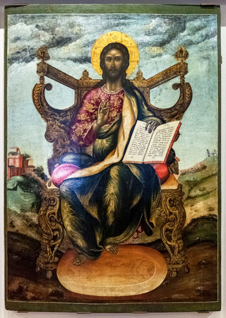 enthroned: NOVGOROD, RUSSIA - JUNE 4, 2016: Antique Russian orthodox icon. The Christ Enthroned painted on old wooden board, 18-th century Editorial