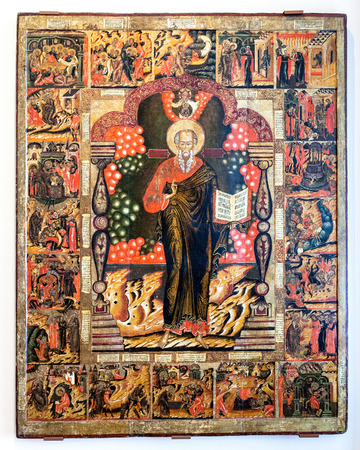 theologian: NOVGOROD, RUSSIA - JUNE 4, 2016: Antique Russian orthodox icon. St. John the Theologian with Scenes from his Life painted on old wooden board, 17-th century