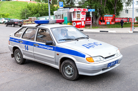 patrol car: SAMARA, RUSSIA - JUNE 4, 2016: Russian police patrol car of the State Automobile Inspectorate parked on the city street in summer day