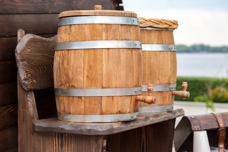 nonalcoholic beer: Sale traditional Russian kvass from wooden barrels