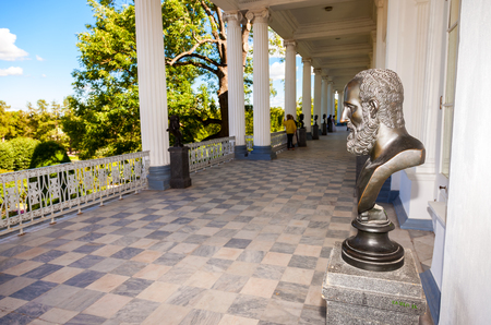 by catherine: SAINT-PETERSBURG, RUSSIA - AUGUST 04, 2015: Inside view of the Cameron gallery in Catherines park in Pushkin (Tsarskoe Selo) Editorial
