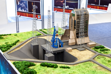 spaceport: SAMARA, RUSSIA - JUNE 12, 2016: Landscape layout Space rocket Soyuz at the Guiana Space Centre at the free exposition on Kuibyshev square