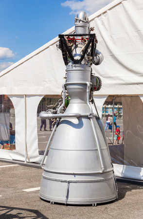 SAMARA, RUSSIA - JUNE 12, 2016: Space rocket jet engine NK-33 by the Corporation Kuznetsov at the free exposition on Kuibyshev square in sunny day