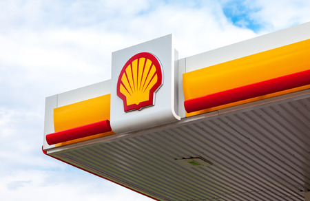 LENINGRAD REGION, RUSSIA - JULY 31, 2016: The emblem of the Royal Dutch Shell oil company. Shell is an Anglo-Dutch multinational oil and gas company Editorial