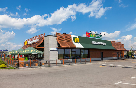 mcdonalds: TVER REGION, RUSSIA - JUNE 26, 2016: McDonalds fast food restaurant at the highway Moskva - St. Petersburg. McDonalds is the worlds largest chain of fast food restaurants Editorial