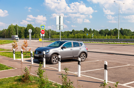 turnpike: TVER REGION, RUSSIA - JUNE 26, 2016: Toll road. Russian highway number M11 Editorial
