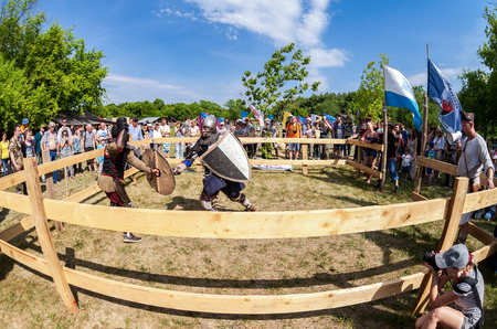SAMARA, RUSSIA - JUNE 18, 2016: Historical restoration of knightly fights on free festival of medieval culture