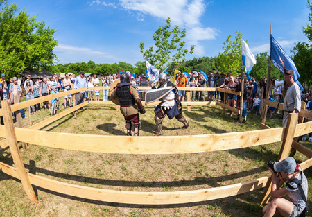 knightly: SAMARA, RUSSIA - JUNE 18, 2016: Historical restoration of knightly fights on free festival of medieval culture
