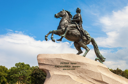 peter the great: The equestrian statue of Peter the Great (Bronze Horseman) in St. Petersburg, Russia (1782) Editorial