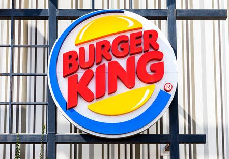macdonald: ST. PETERSBURG, RUSSIA - JULY 31, 2016: Burger King fastfood restuarant sign. Burger King is an American global chain of hamburger fast food restaurants, United States