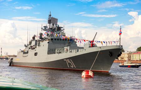 battleship: ST. PETERSBURG, RUSSIA - JULY 31, 2016: Patrol ship Admiral Essen on the Neva river for Navy day celebration on July 31, 2016 in St. Petersburg, Russia
