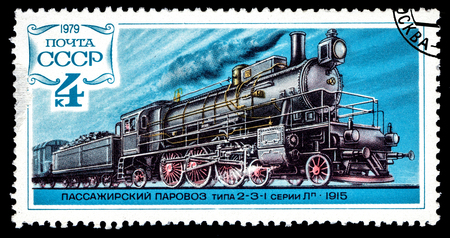USSR - CIRCA 1979: A stamp printed in USSR shows vintage Russian steam locomotive of type 2-3-1 series L 1915, circa 1979