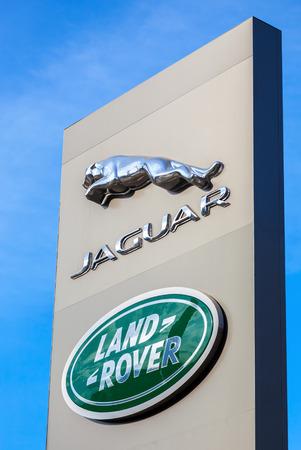 SAMARA, RUSSIA - AUGUST 27, 2016: Jaguar dealership sign. Jaguar is a brand of the British car manufacturer Jaguar Land Rover Editorial