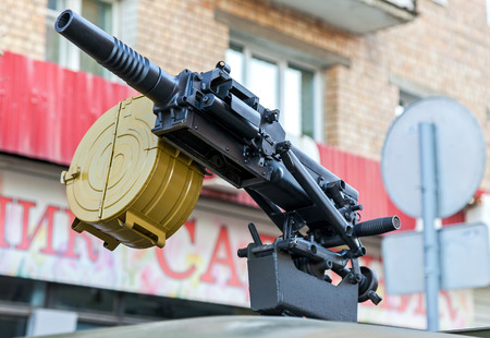 SAMARA, RUSSIA - MAY 4, 2015: Russian automatic grenade launcher with attached box for ammunition