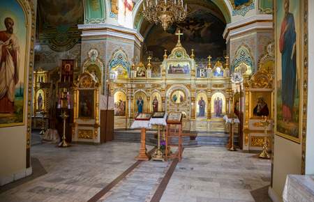 SAMARA, RUSSIA - MAY 24, 2015: Interior of the Nativity church. Church was founded in 1833