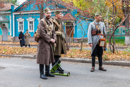 SAMARA, RUSSIA - OCTOBER 15, 2016: Reenactment the armed actions of the Czechoslovak Legion in the Russian Civil War against Bolshevik authorities in 1918