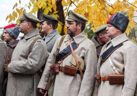revolt: SAMARA, RUSSIA - OCTOBER 15, 2016: Unidentified members of historical reenactment in revolt of the Czechoslovak Legion in the Russian Civil War against Bolshevik authorities in 1918 Editorial