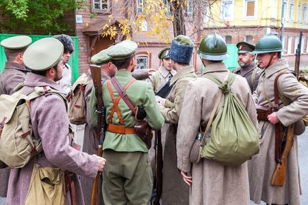 czechoslovak: SAMARA, RUSSIA - OCTOBER 15, 2016: Reenactment the armed actions of the Czechoslovak Legion in the Russian Civil War against Bolshevik authorities in 1918
