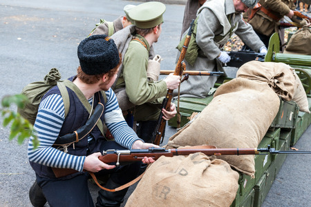 legion: SAMARA, RUSSIA - OCTOBER 15, 2016: Reenactment the armed actions of the Czechoslovak Legion in the Russian Civil War against Bolshevik authorities in 1918
