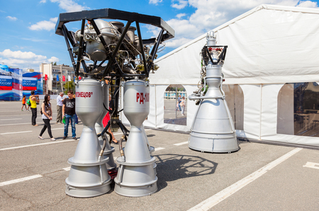 SAMARA, RUSSIA - JUNE 12, 2016: Space rocket engines RD-107A and NK-33 by the Corporation Kuznetsov at the free exposition on Kuibyshev square in sunny day